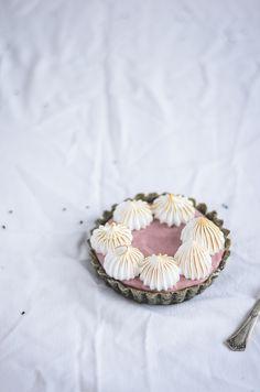 black sesame and strawberry meringue tarts