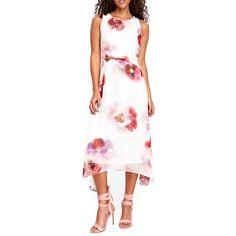 Women's Wallis Pansy Print Handkerchief Hem Dress ($95) ❤ liked on Polyvore featuring dresses, ivory, handkerchief hem dress, winter white dress, white handkerchief dress, white chiffon dress and print dresses