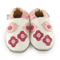 Snuggle Feet – Suaves Zapatos De Cuero Del Bebé Pajaritos Lindos Rosa (0-6 meses)