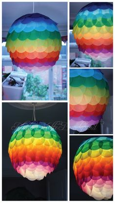 Use paper lamp and glue on colored circles. Could be monochromatic or otherwise!