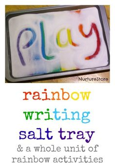 Rainbow themed literacy activities - NurtureStore - Rainbow writing salt tray + lots of rainbow-themed literacy ideas - Writing Area, Pre Writing, Writing Letters, Writing Table, Phonics Activities, Preschool Activities, Dyslexia Activities, Preschool Fine Motor Skills, Rainbow Activities