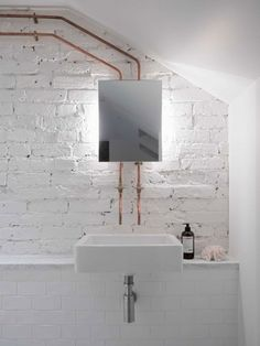 Interior design Bathroom Small - White Brick Wall Texture Interior Background Design Ideas and Remodel that will make your living room looks better and artistic Small Basement Bathroom, Small Space Bathroom, Bathroom Layout, Bathroom Interior, Bathroom Ideas, Small Spaces, Bathroom Designs, White Bathroom, Basement Toilet