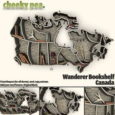 Bookshelf shaped like Canada ..other countries available