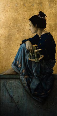 """Urania, meaning 'heavenly' or 'of heaven'; in Greek mythology, Urania, the youngest muse, was the muse of astronomy astrological writings. She inspired man to look up at the stars ask """"Why""""."""