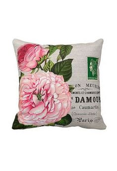 Pillow Cover Pink Rose Botanical Cotton and Burlap
