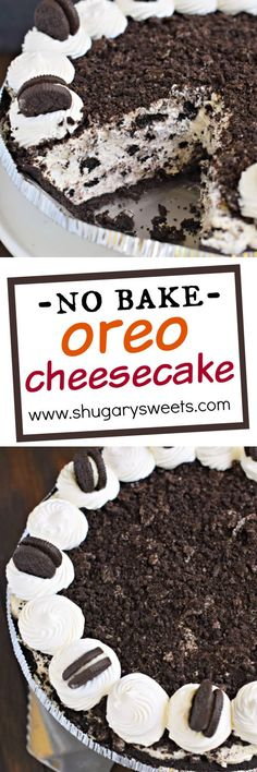 When you're looking for an easy dessert, this No Bake Oreo Cheesecake recipe is a creamy, flavorful pie! Easy to throw together for a delicious treat! you're looking for an easy dessert, this No Bake Oreo Cheesecake recipe is a creamy, flavorful pie! Oreo Cheesecake Recipes, Brownie Desserts, Mini Desserts, No Bake Desserts, Easy Desserts, Delicious Desserts, Dessert Recipes, Yummy Food, Raspberry Cheesecake