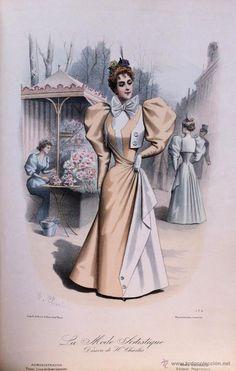 Arte: LA MODE ARTISTIQUE ORIGINAL S.XIX, G. JANET, COLOREADA A MANO, MODA ELEGANTE DE SEÑORAS, PARIS, 43X2 - Foto 2 - 48598888