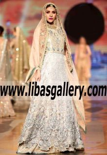 Glamorous Fleur De Bloom Bridal Gown with Fabulous Lehenga Skirt for Reception and Valima -This is NOT a dream & it can be your reality! Bridal Collection #qhbcw www.libasgallery.com #UK #USA #Canada #Australia #France #Germany #SaudiArabia #Bahrain #Kuwait #Norway #Sweden #NewZealand #Austria #Switzerland #Denmark #Ireland #Mauritius #Netherland #resham #zardozi #couture #bestseller #Bride #Bridesmaids #TrendingNow #OnTrendBridalGowns #HotDresses #PrincessStyle #BridalTrends #WeddingGowns