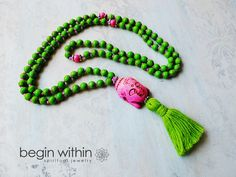 Lime Mala Beads / Prayer Beads Magnesite by BeginWithinJewelry