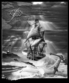 back pieces tattoo idea work tattoo Tattoo Sleeve Designs, Sleeve Tattoos, Nautical Sleeve, Pirate Tattoo, Pirate Ship Tattoos, Catrina Tattoo, Old Sailing Ships, Sailor Tattoos, Ship Drawing