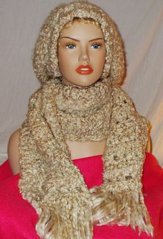 Hat and Scarf Set Crochet in Thick Soft Heavy by RedBudCrafts