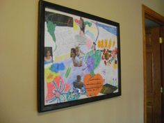 Kids' Artwork Collage from Thrift Store Frame