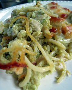 Cheesy Chicken Pesto Pasta - only 6 ingredients! Chicken, spaghetti, pesto, ricotta, mozzarella and parmesan - SO good! Great make ahead pasta casserole