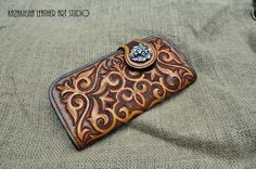 Ladies hand carved and tooled long wallet in by KazakhshaStyle
