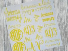 Back to School Decals - Back to School Supplies - Decals - Stickers - Monograms - Personalized Schoo Monogram School Supplies, Personalized School Supplies, Back To School Supplies, School Pencil Boxes, School Supply Labels, School Folders, Christmas Stocking Holders, Name Labels, Vinyl Sheets