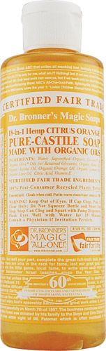 Dr. Bronner's Organic Castile Liquid Soap Citrus Orange. LOVE this stuff. I use it as a household cleaner, a body wash, and hand soap. There are so many more uses for this castile soap. Smells good and works well!
