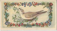 Vintage Greeting Card Christmas Bird Berries Tasha Tudor American Artists i801