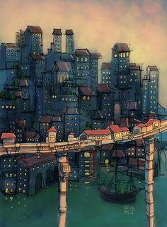 City and bridge. by Matthew Watkins, via Flickr