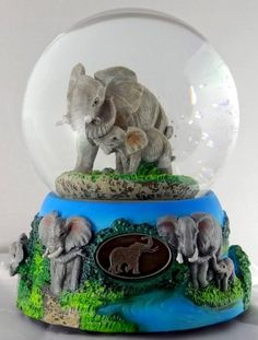 Sculptured Elephant with Baby Snow Globe - Water Ball Music Box