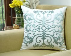 Silver Damask Decorative Pillow Cover Throw Pillow by KainKain, $26.00
