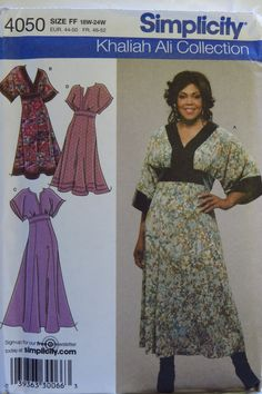 Simplicity 4050 Women's Dress in Two Lengths with Font and Trim Variations