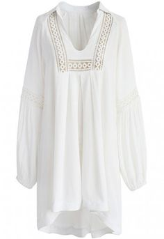 Of course you know just what to do! Step out like the maven you are in this flowy maven tunic in white. Its crochet details gives it just the right dash of sophistication, making it a sweet and spicy selection this spring. - V-neckline - Crochet cutout trimming - Dropped shoulder - Elastic cuffs - Hi-lo hem - Not lined - 100% Polyester - Hand wash Size(cm)Length  Bust Waist Shoulder Sleeves XS-S      75-95   100  116    40      60 M-L       76-96   104 …