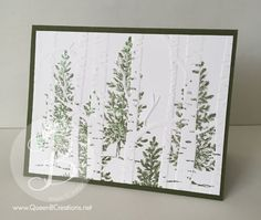 woodland embossing folder trees using Stampin' Up! Lovely as a Tree stamp set…