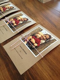 Simple homemade Christmas cards with a photo and baker's twine.