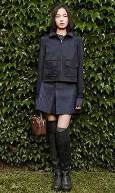 Tory Burch FALL 2014 — Look 14: Lane Jacket, Angelique Blouse, Klarissa Skirt, Robinson Pebbled Double-Zip Cross-Body, Simone Over-the-Knee Boot