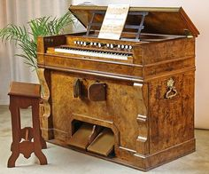 Mustel Art Harmonium: This baby boasts an incredibly wide dynamic range, beginning at ppp and continuing through fff. The crescendo is powerful and abrupt, like a bayan or an accordion, and the range of tonal colours as well as the pitch range of the instrument is fantastic. The Art Harmonium is unquestionably the Rolls-Royce of free-reed instruments, and when it comes to musical expression few pipe organs – if any can match it.