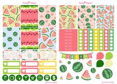 Watermelon stickers // Summer Watermelon Weekly Planner Stickers  Erin by PeonyPlanner