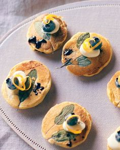 Mini Corn Cakes with Blueberries and Sage #Recipe