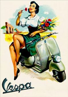 13626 - MOTORCYCLE - VESPA - Pin up - Flôres no braço - 29x41-