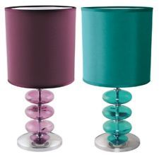 LLOYTRON VIENNESE TEAL PLUM LAMP TABLE DESK BEDROOM LIGHT TURQUOISE PURPLE SHADE