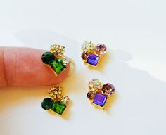 4 pcs of rhinestones nail charm 2 pcs each color by GlamourFavor