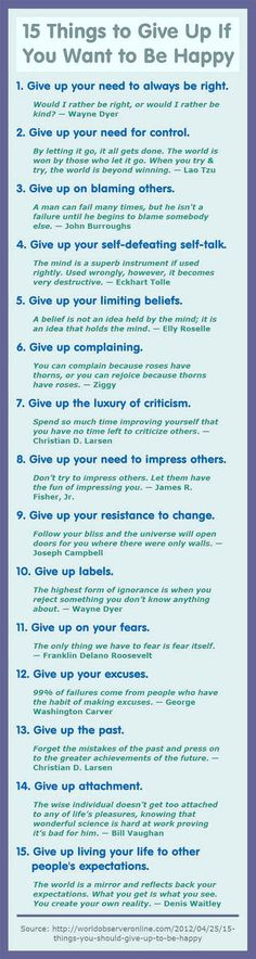 15 Things To Give Up If You Want To Be Happy happy life happiness positive emotions mental health confidence self improvement self help emotional health: