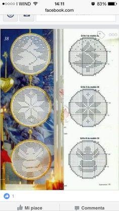 Filet crochet Christmas motifs with graphs Crochet Christmas Wreath, Crochet Ornaments, Holiday Crochet, Christmas Cross, Crochet Snowflake Pattern, Christmas Crochet Patterns, Crochet Snowflakes, Filet Crochet Charts, Crochet Motifs
