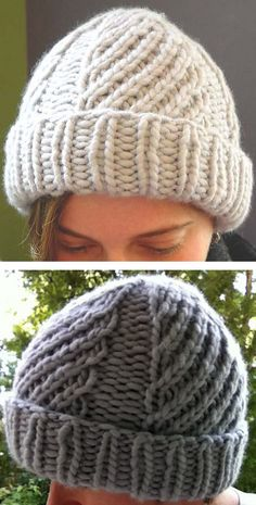 Free Knitting Pattern for 4-Row Repeat Laura's Spirals Hat - Sections of a 4-round repeat diagonal stitch alternate with purled sections. Quick knit win super bulky yarn. Designed by Beth2 for Keira Kiyoko Designs