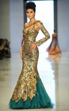 golden dress by Fouad sarkiss