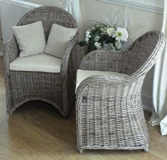 Natural Wicker Riviera Chair - Kubu Grey