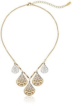 """1928 Jewelry Filigree Teardrop Collar Adjustable Necklace, 16"""" -- You can find more details at…"""