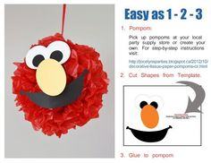 Sesame Street Party - Birthday - DIY Sesame Street Pompoms via Etsy by elsa