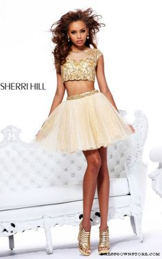 Gold Sherri Hill 21154 Two Piece Pleated Prom Dress