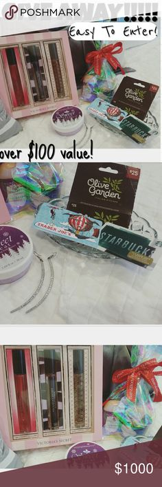 January GIVE AWAY!!! 4 DAYS LEFT!!! Trader Joe's Gift Card of $50.00  Olive Garden Gift Card of $25.00 Starbucks Gift Card of $5.00 Victorias Secret Rollerball Perfume Set($54.00 Value) (Bombshell•Scandalous• Tease) Bath&Body Works Sanitizer+Candle ($7.00 Value) Gorgeous Rhinestone Earrings+Smoothing Body Butter  TO ENTER: •Follow my closet •Share this listing •Purchase any listing from my closet (the dollar amount spent will be your number of entries) •Comment 'done' on this listing…