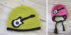 Free Crochet Rock Star Guitar hat pattern from Repeat Crafter me!