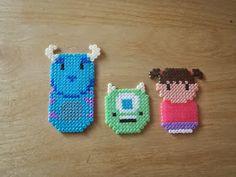Sulley, Mike and Boo perler beads Disney Hama Beads Pattern, Hama Beads Disney, Easy Perler Bead Patterns, Pearl Beads Pattern, Melty Bead Patterns, Beading Patterns, Hama Disney, Perler Beads, Perler Bead Art