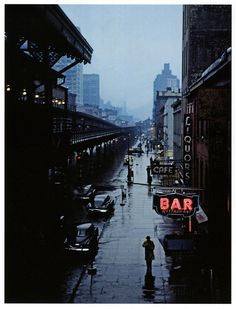 """Lower Manhattan & the """"El""""    Late 1940's photo by Jack Delano; archives of the Library of Congress."""