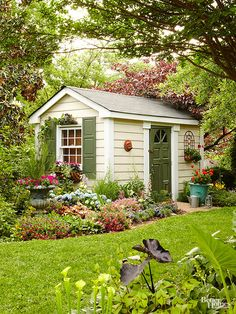 Arrange shapely antique urns and oversize pots as garden centerpieces and to mark entry points to pathways, sheds, and outdoor rooms. Give no-frills outbuildings an eye-pleasing presence. Paint shutters, doors, and woodwork so they stand out from the building's siding. Adorn shed walls with whimsical plaques, birdfeeders, and planting boxes spilling over with vines and colorful blossoms.