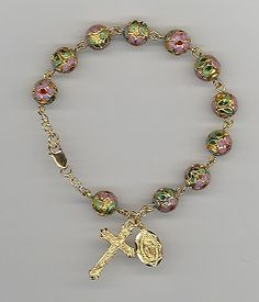 www.lilfranciscan.com Cloisonne Rosary Bracelet. Beautiful for a gift