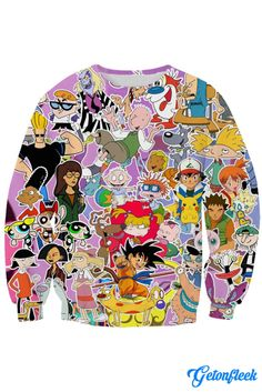 Nickelodeon Crewneck - Shop our entire collection of all-over-print apparel! www.getonfleek.com
